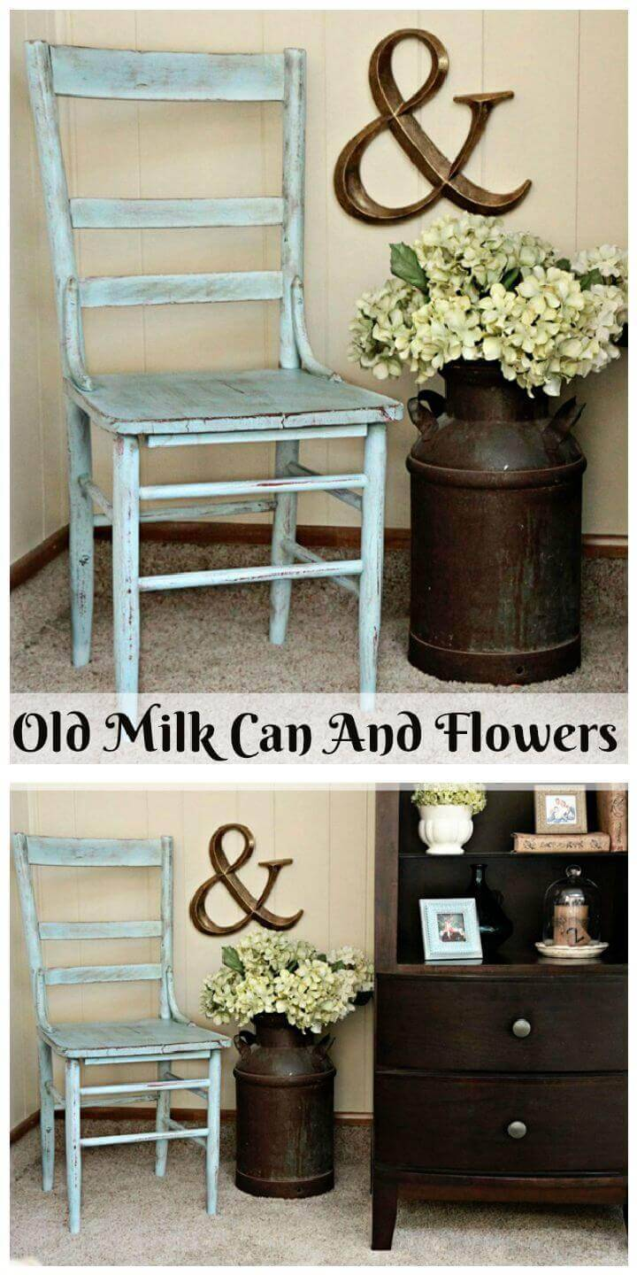 Old Milk Can And Flowers