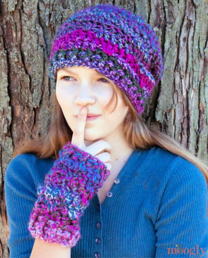One Skein Fingerless Mitts Free Crochet Pattern