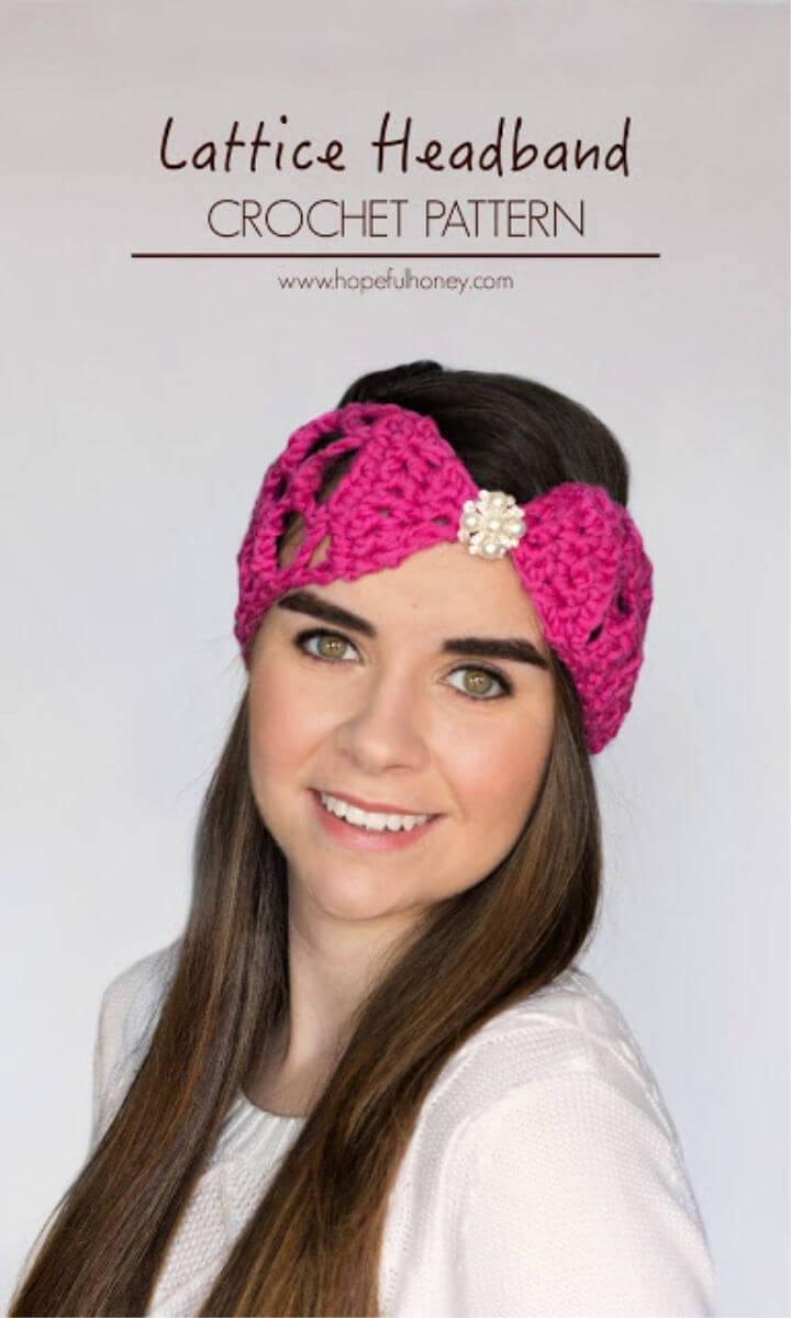 One Skein Lacy Lattice Headband Free Crochet Pattern