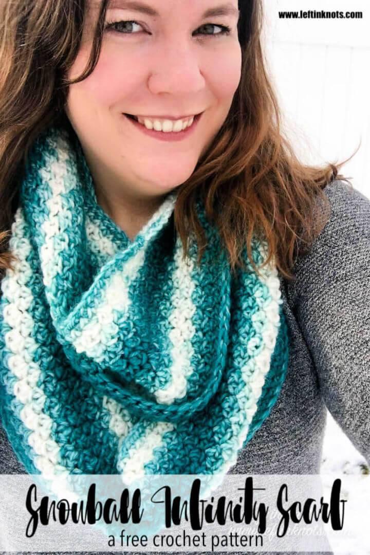One Skein Snowball Infinity Scarf Free Crochet Pattern