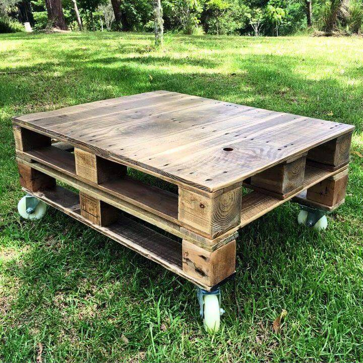 Pallet Coffee Table with Caster Wheels