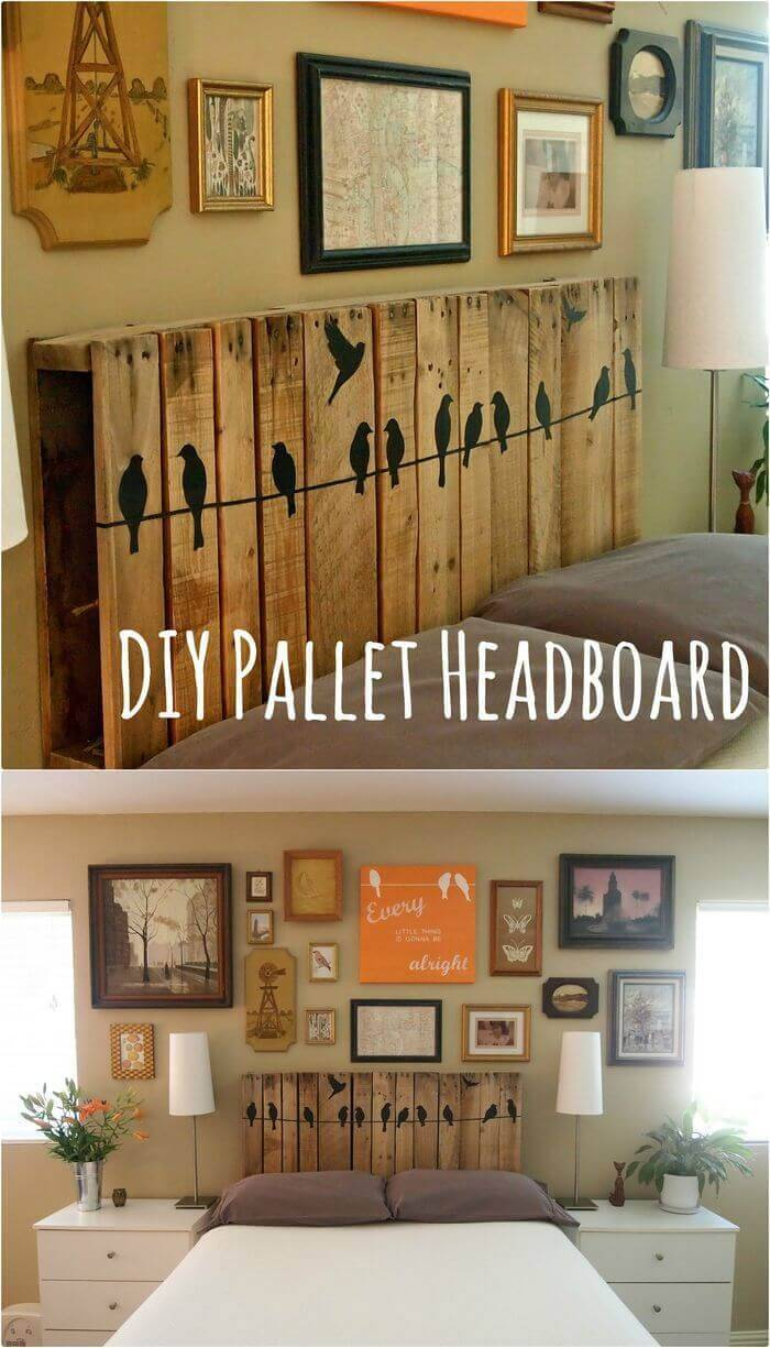 DIY Wooden Headboard with Bird Art