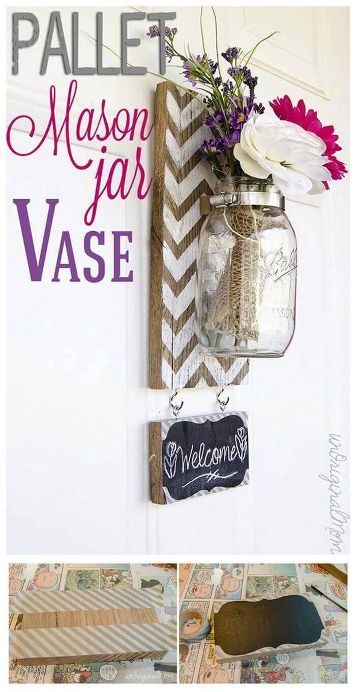 Pallet Mounted Hanging Mason Jar Vase