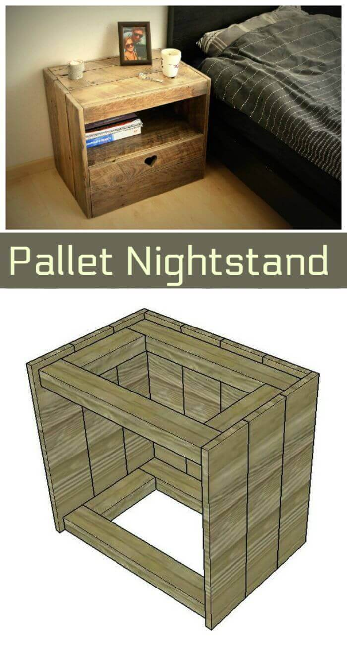 Repurposed Wooden Pallet Nightstand