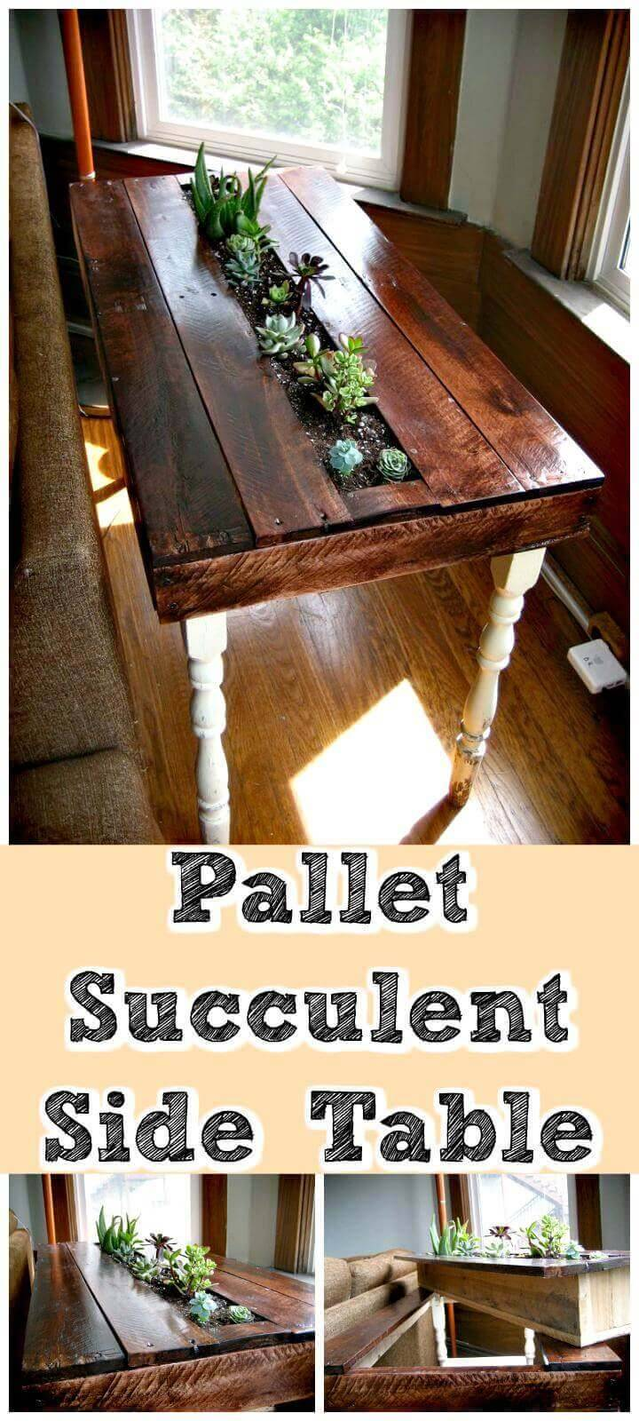 easy handmade pallet succulent side table