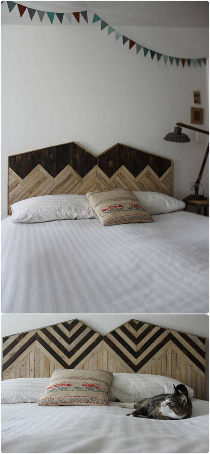 DIY handcrafted Mountain Inspired Wooden Headboard