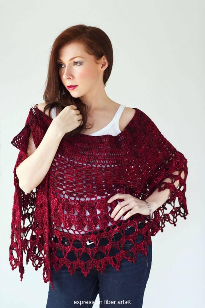 Red Velvet Rose Wrap Free Crochet Pattern