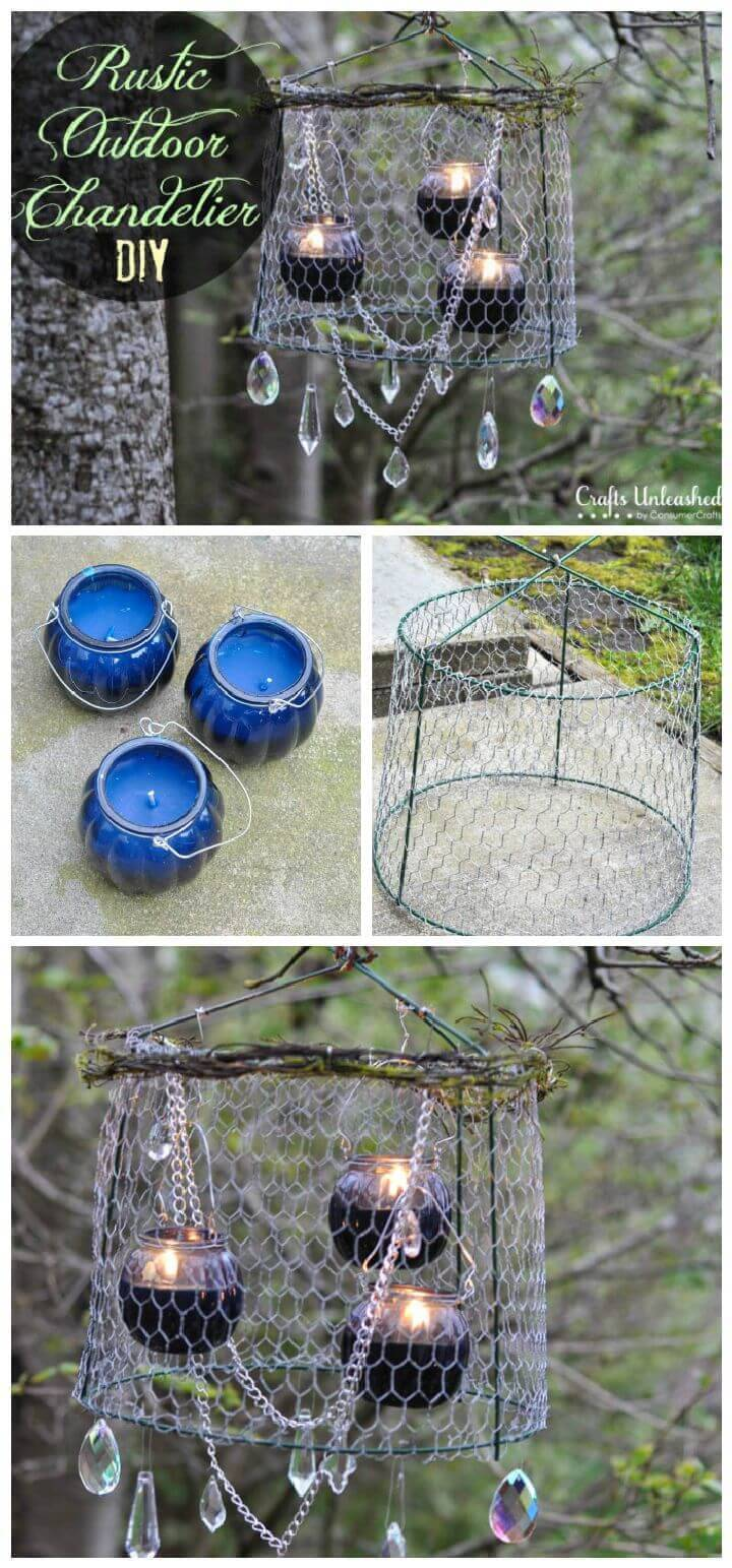 Rustic Outdoor Chandelier DIY