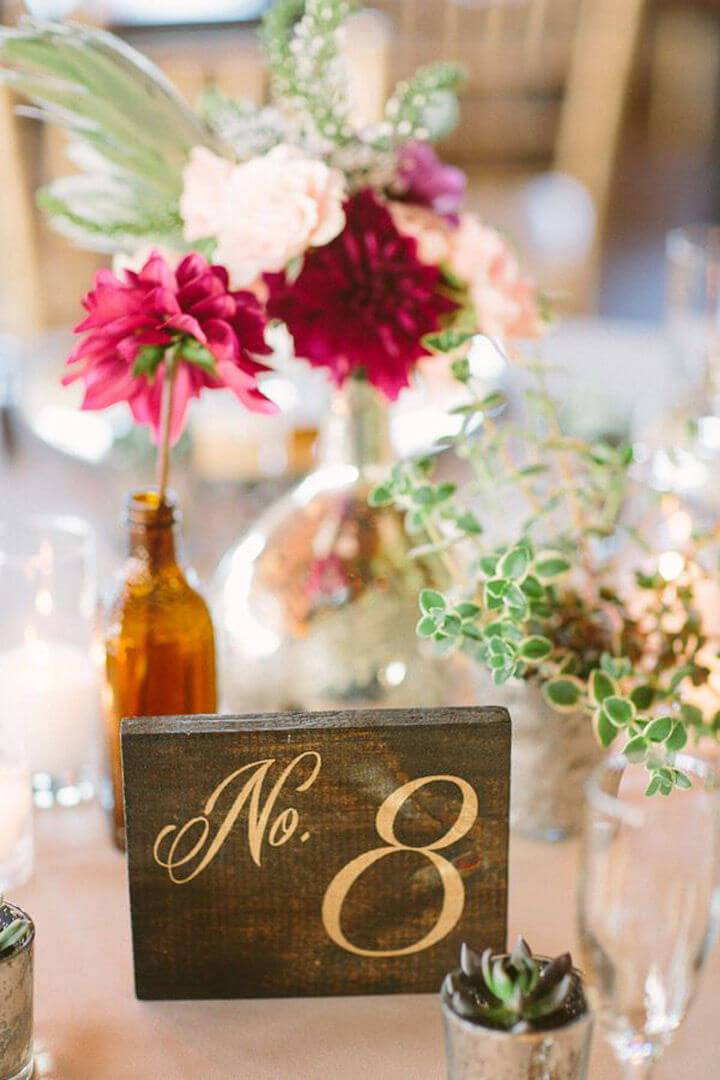 Rustic Wooden Table Numbers For Weddings