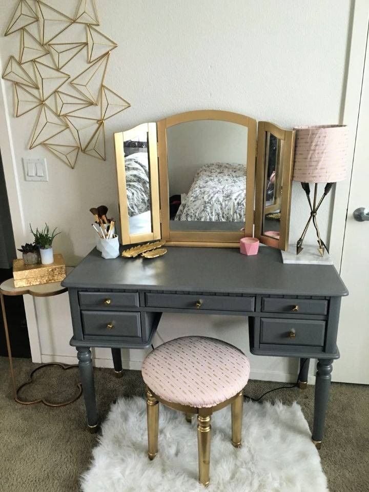 Spray Painted Makeup Vanity