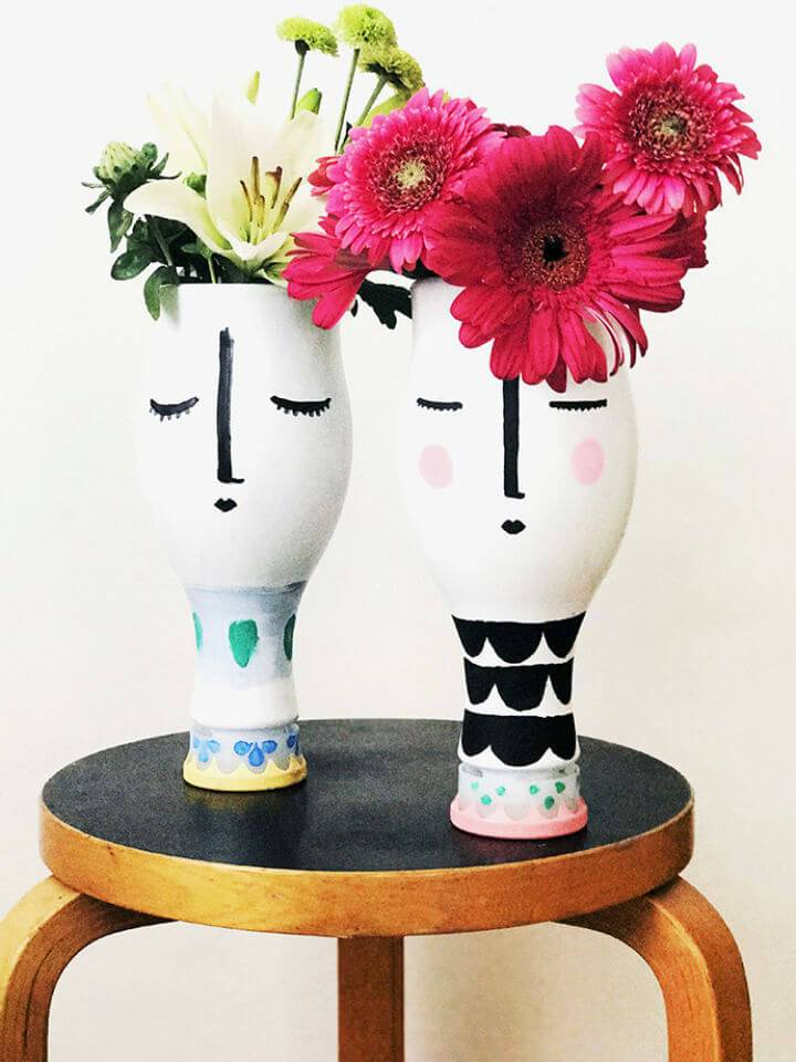 Upcycled Almond Milk Bottle Dolls Vases