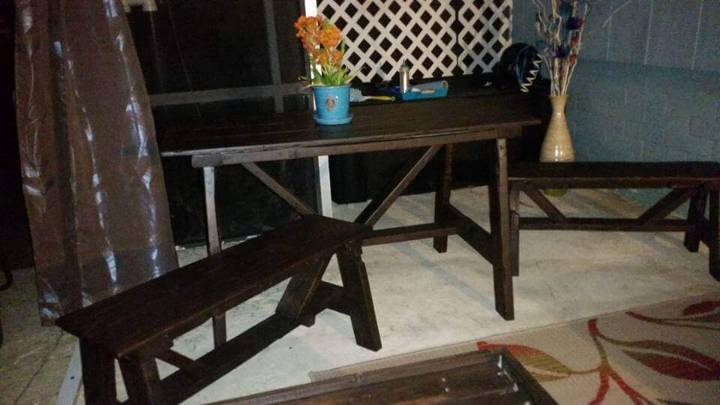 black stained pallet table and benches