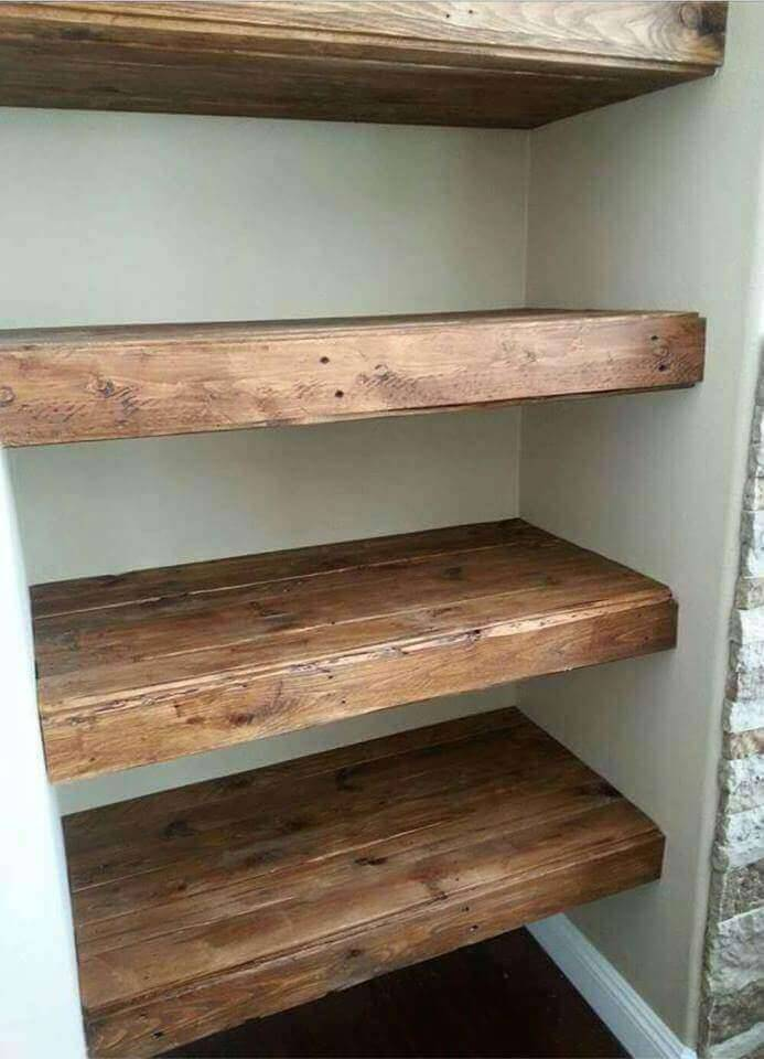 floating pallet wall shelves