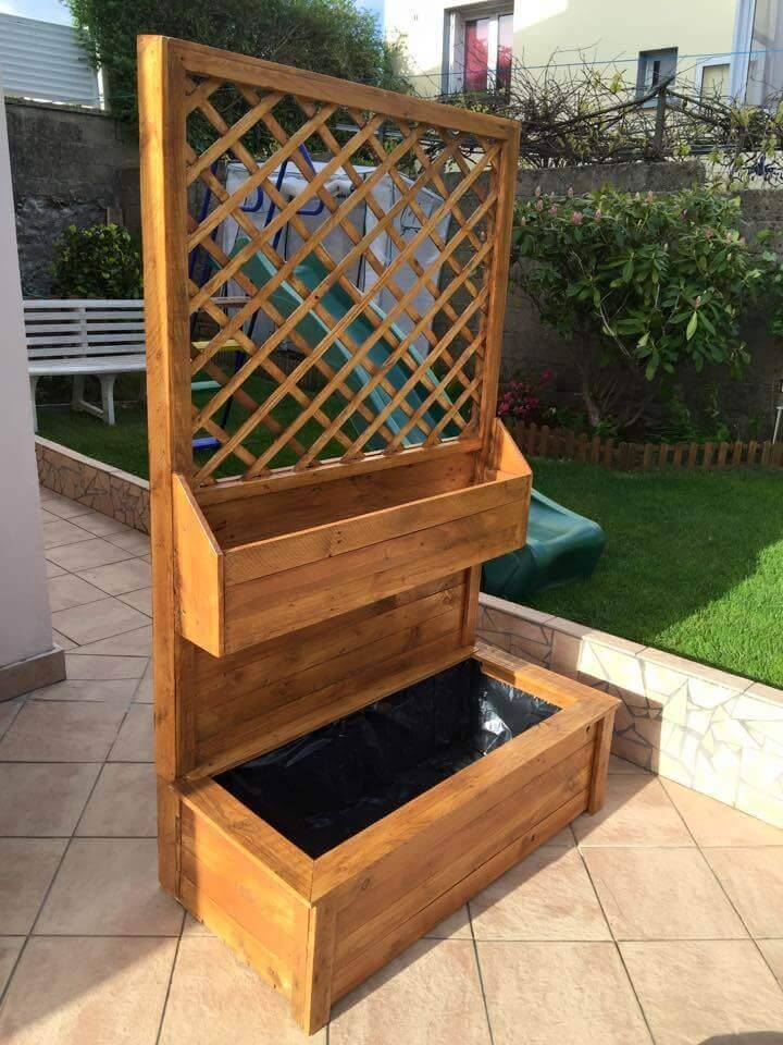 pallet accent garden planter with 2 potting shelves