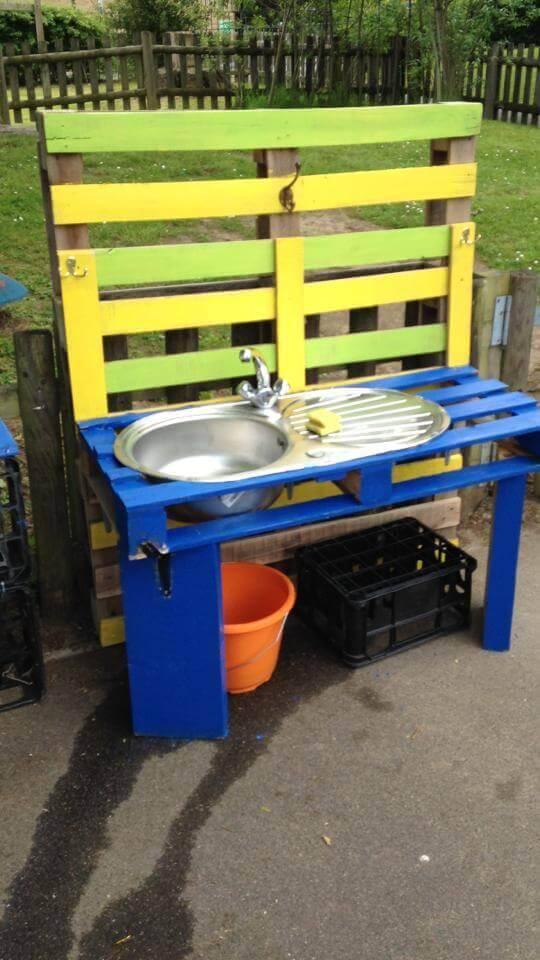 pallet garden wash basin