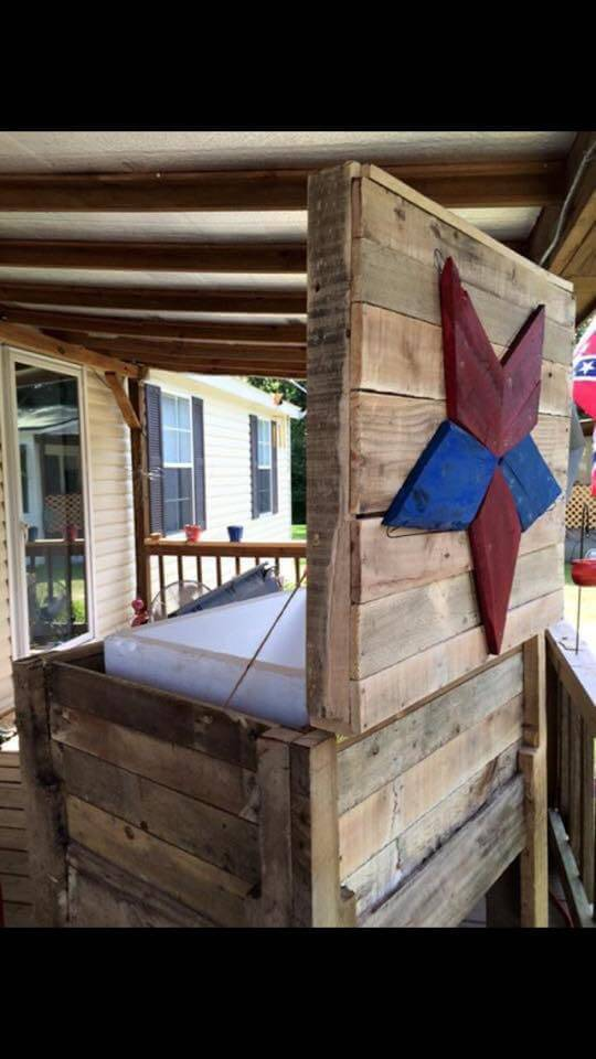 pallet outdoor cooler stand with carved wooden star tag