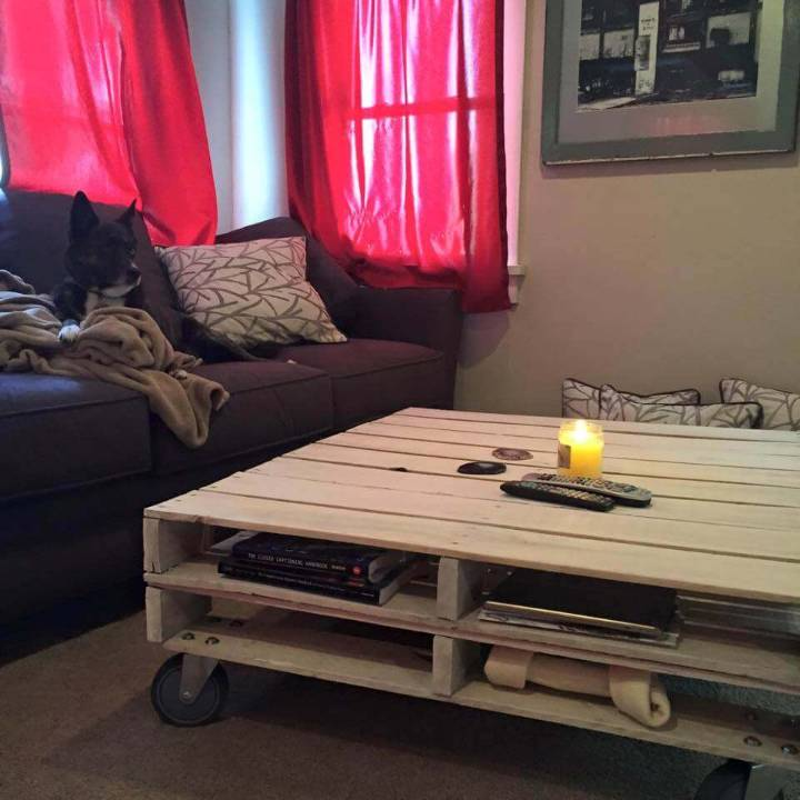 pallet vintage coffee table with magazine rack