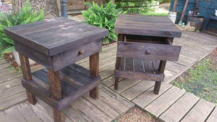 reclaimed pallet rustic nightstands with shelf underneath