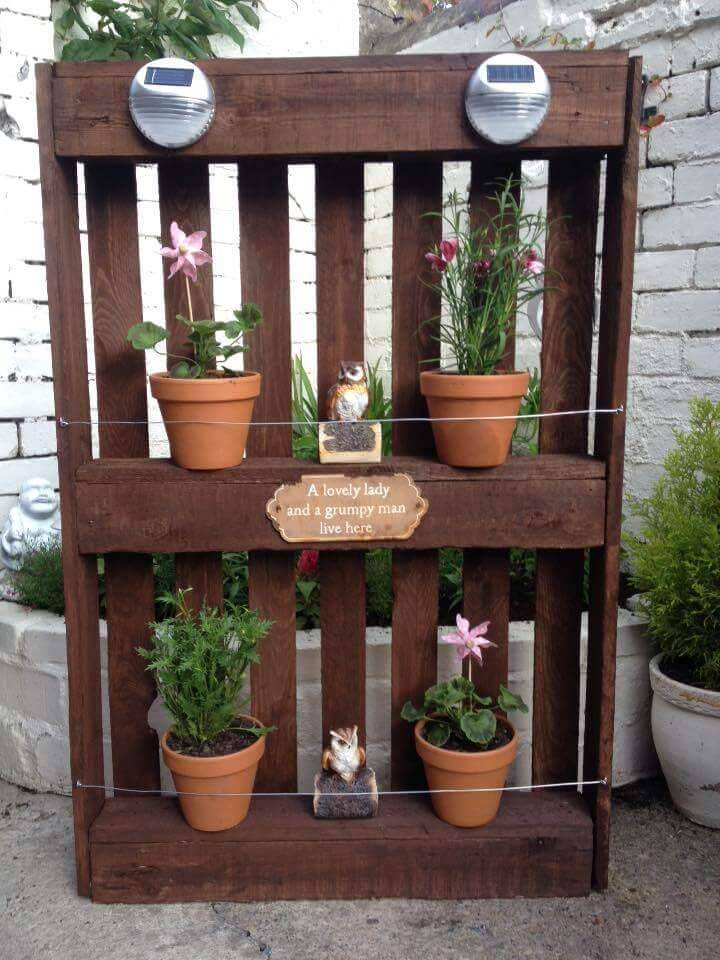 rustic pallet patio pot holder or planter