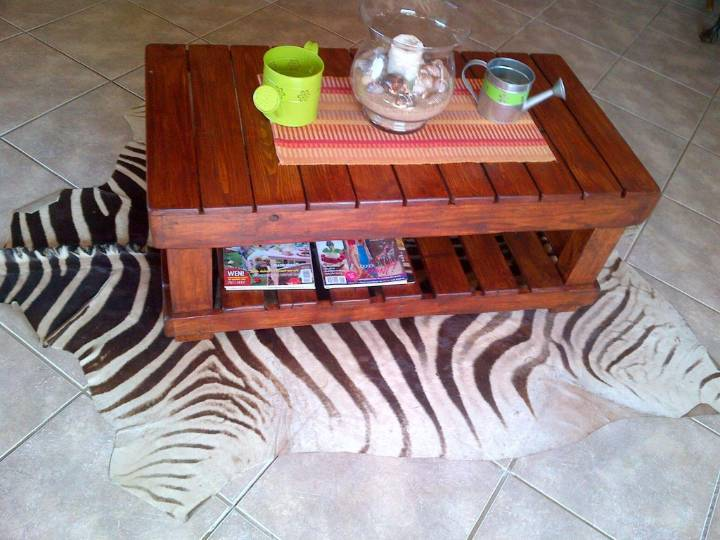 walnut stained pallet coffee table
