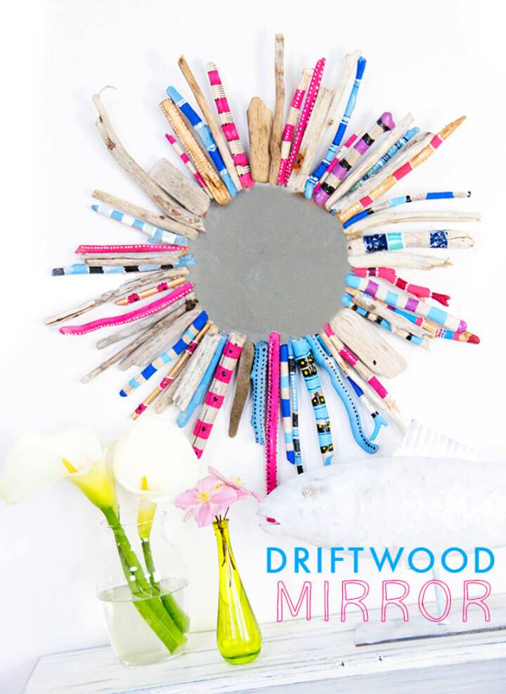 Colorful DIY Driftwood Mirror