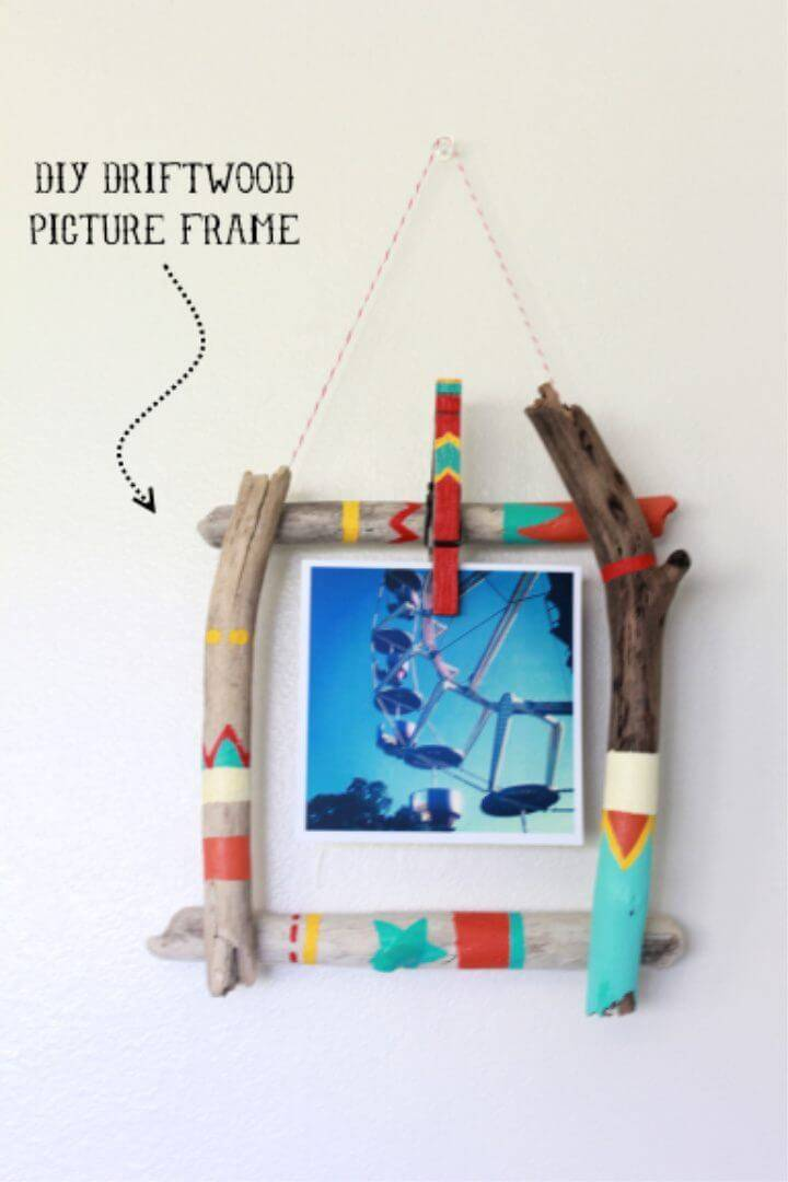 Colorful DIY Driftwood Picture Frame