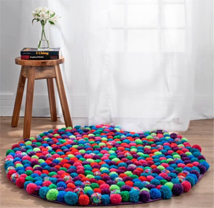 Colorful DIY Pom Poms Rug