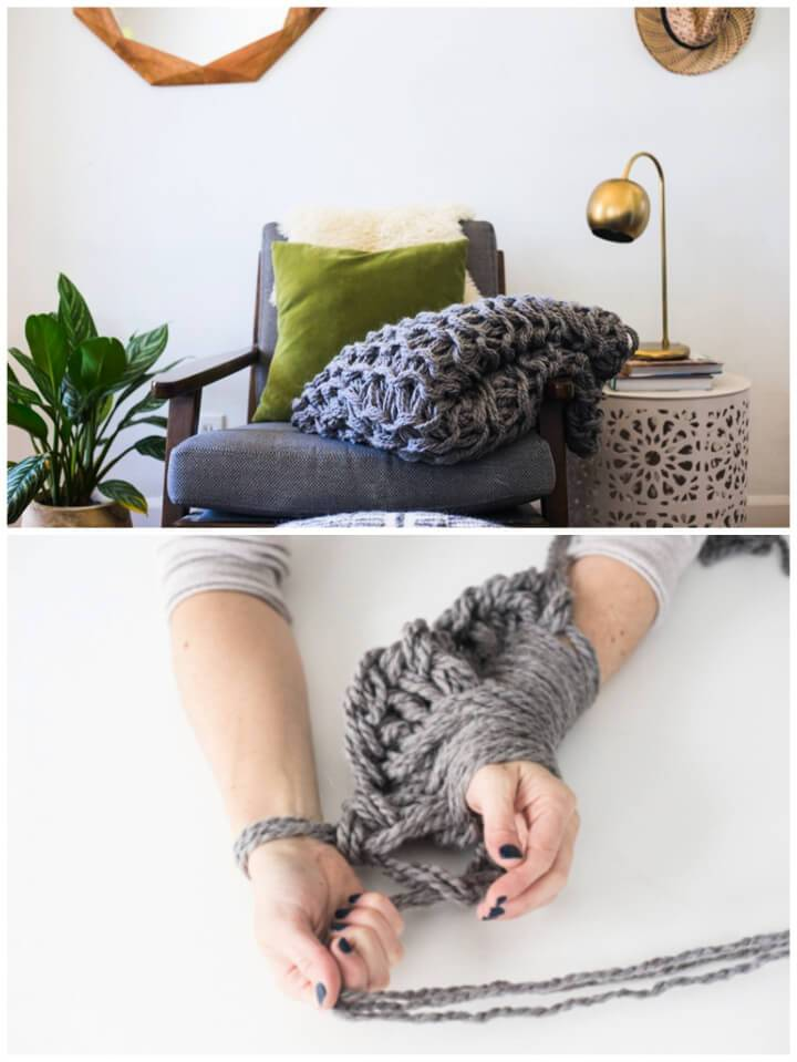 Cozy Arm knit Blanket for Home Decor