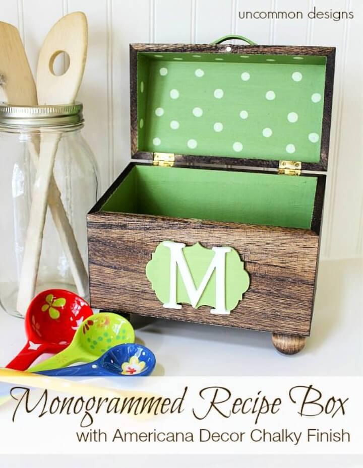 Create Monogrammed Wooden Recipe Box
