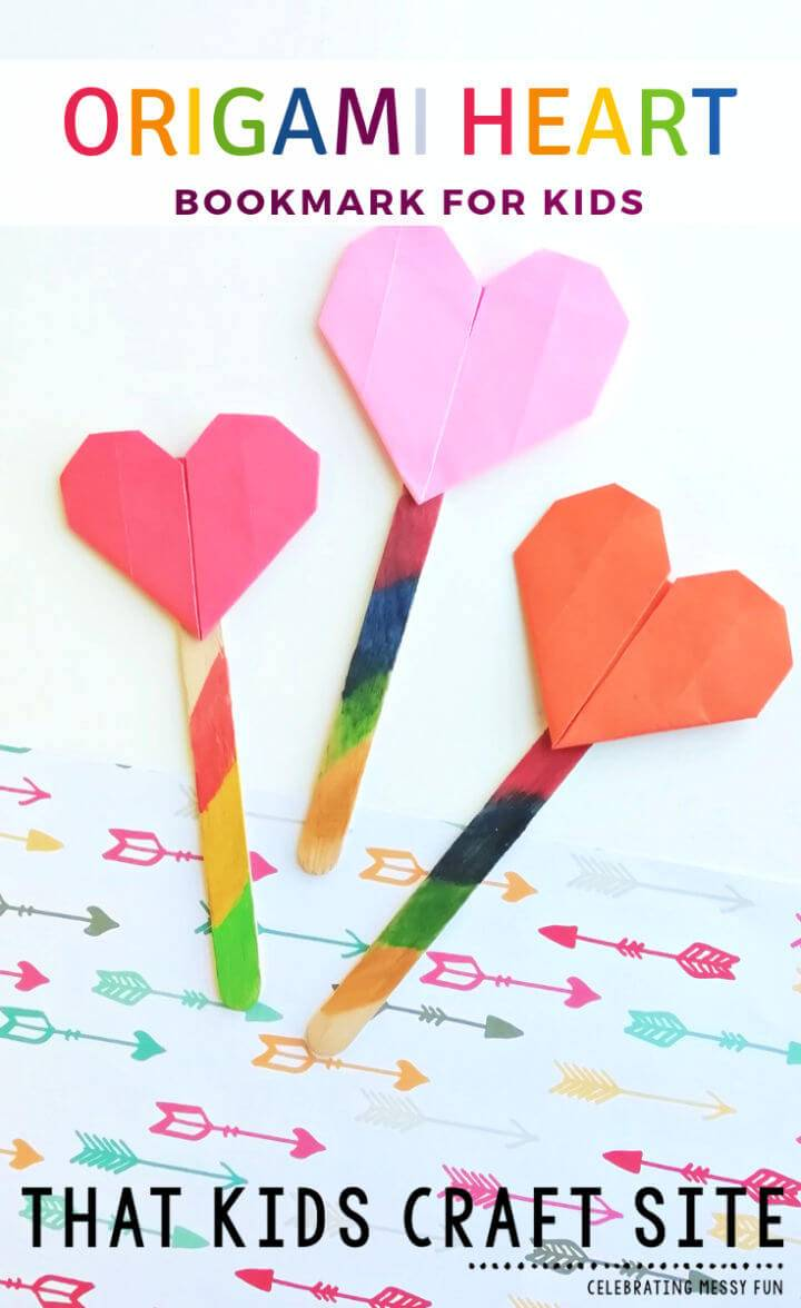 Cute DIY Origami Heart Bookmark for Kids
