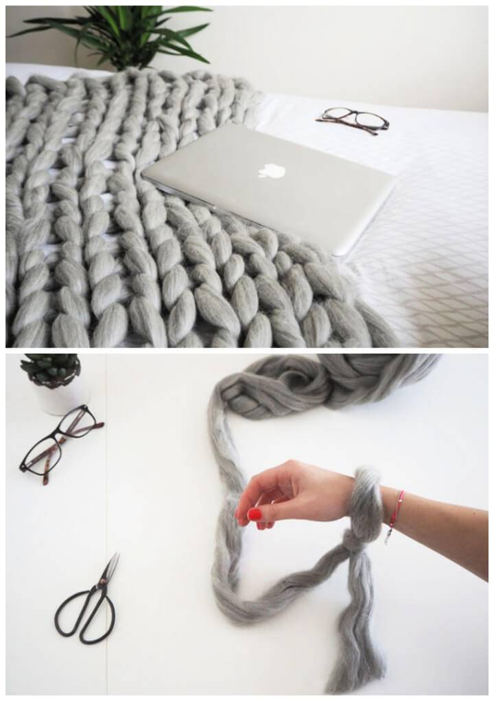 DIY Arm Knitted Cosy Chunky Blanket