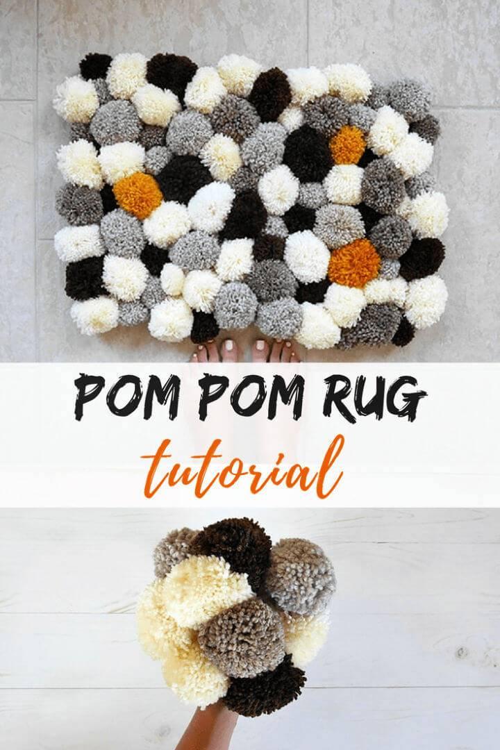 DIY Bathroom Rug with Pom Poms