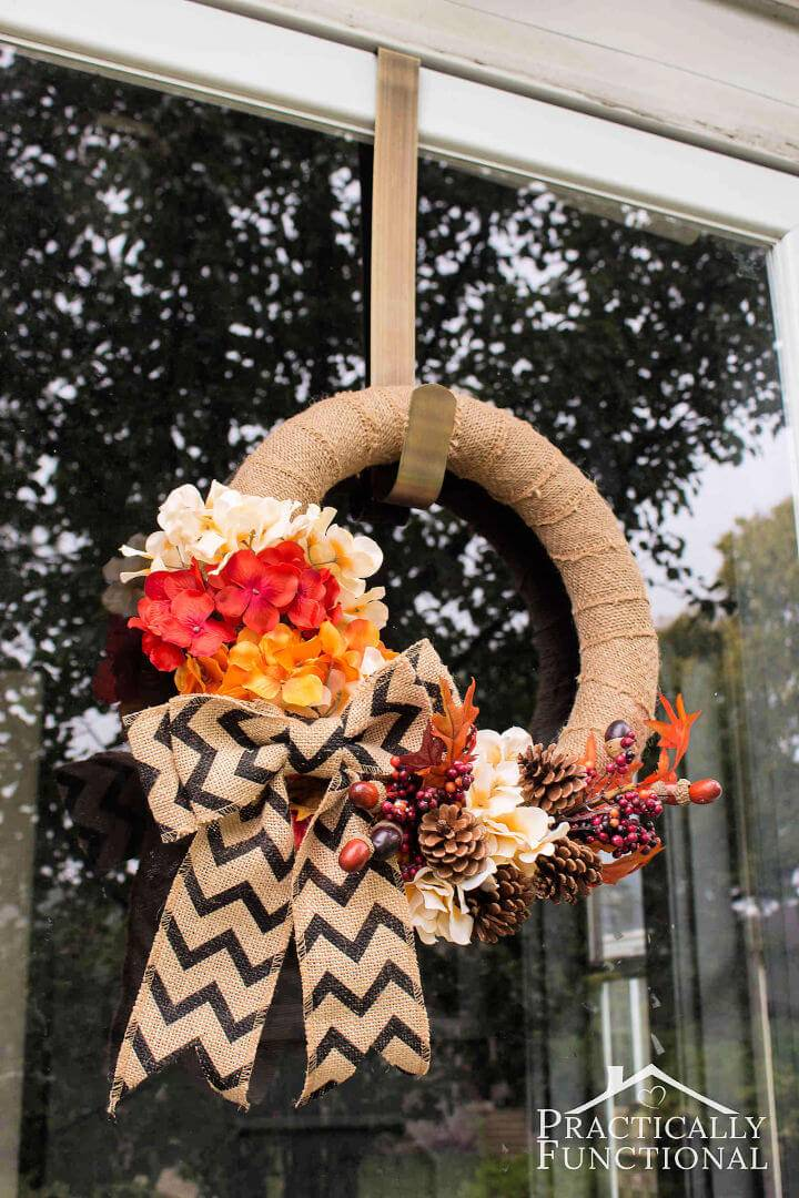DIY Burlap Wreath With Fall Flowers