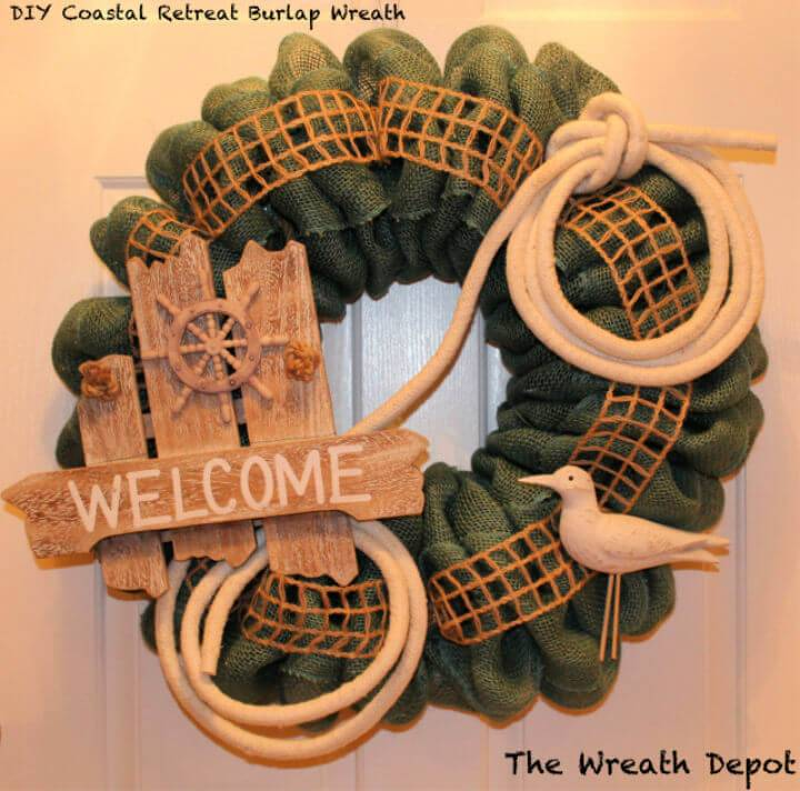DIY Coastal Retreat Burlap Wreath