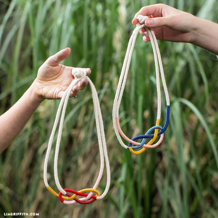 DIY Colorful Macrame Knots Rope Necklace