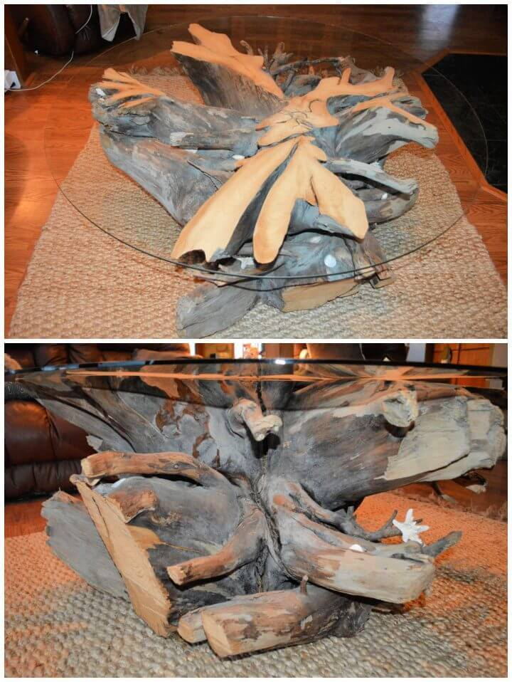 DIY Driftwood Coffee Table