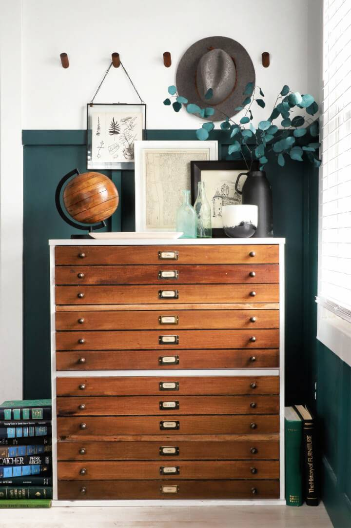 DIY Faux Map Drawer Dresser