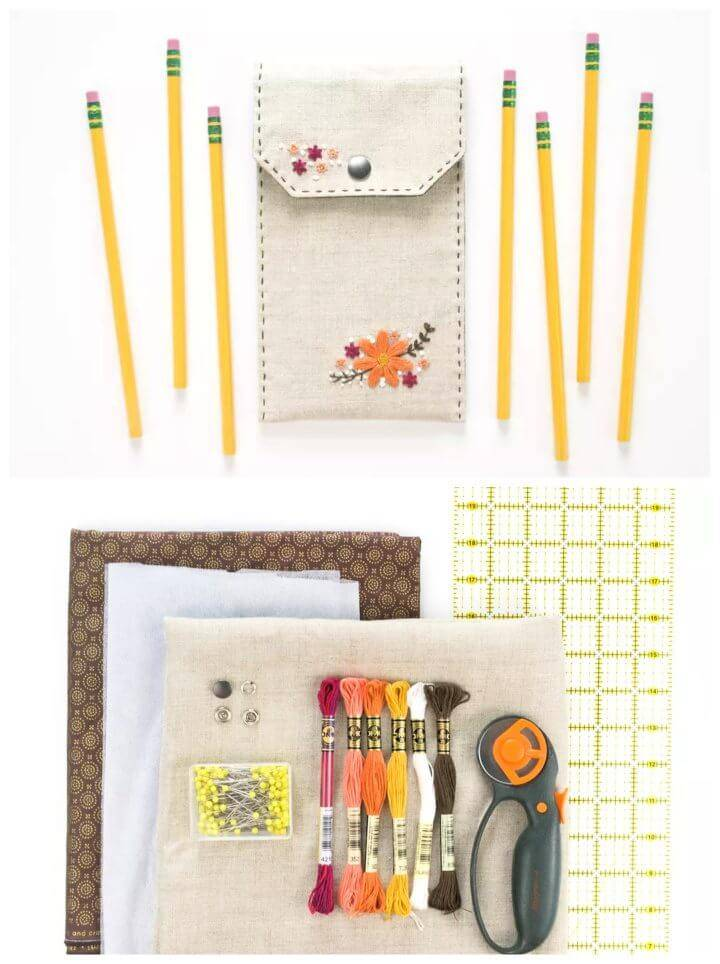 DIY Floral Embroidered Pencil Case