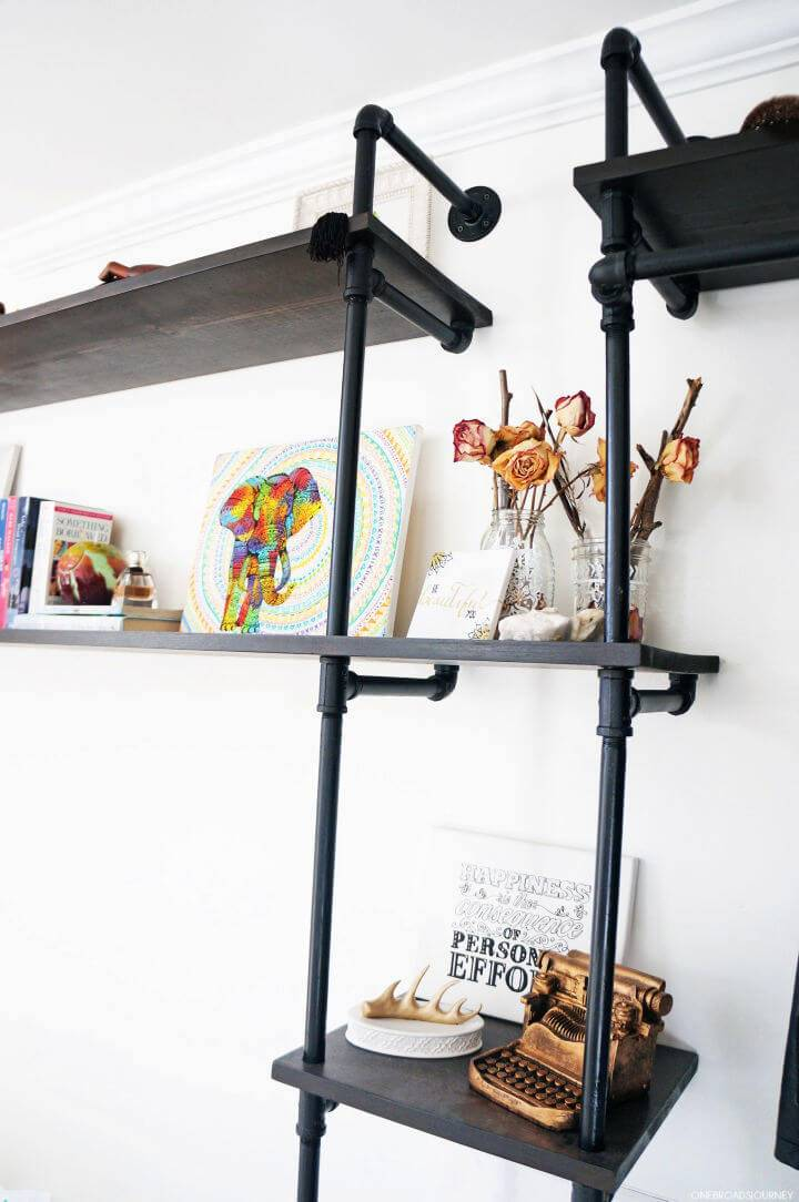 Full Wall Industrial Pipe Shelving