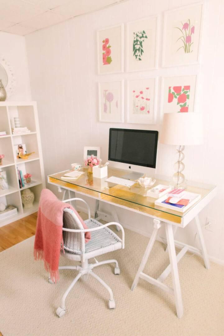 DIY Gold Leafed Ikea Desk Hack
