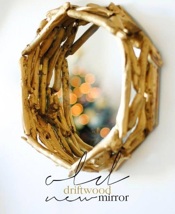 DIY Golden Style Driftwood Mirror