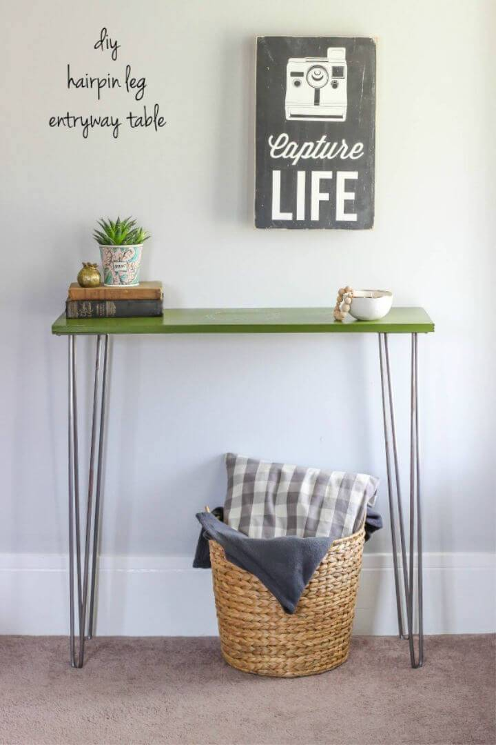 DIY Hairpin Leg Table for Small Entryway