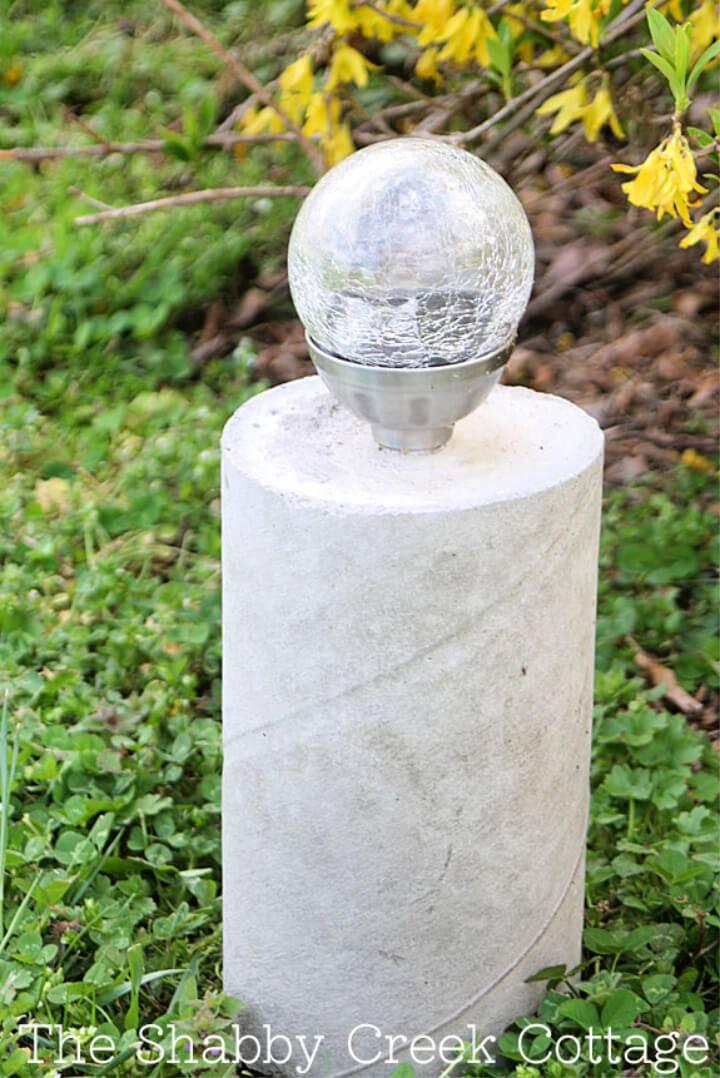 DIY Industrial Style Concrete Pillar Solar Light
