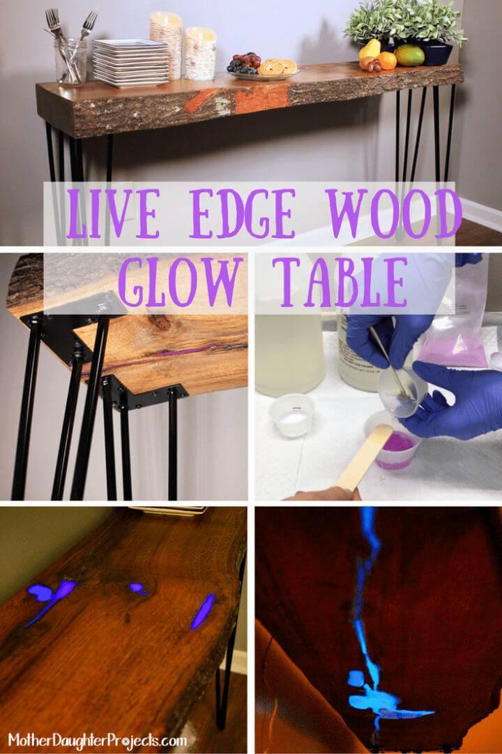 DIY Live Edge Wood Glow Table