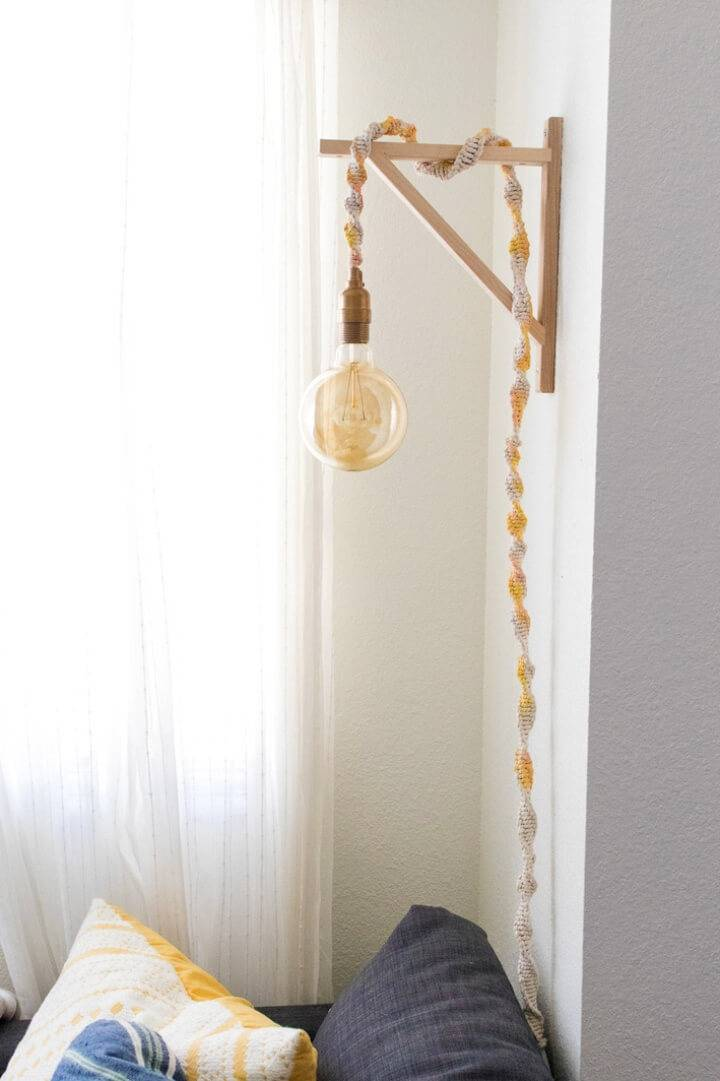 DIY Macrame Wrapped Wall Light Under an Hour