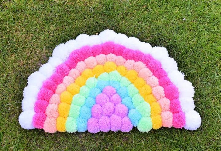 DIY Rainbow Pom Pom Rug