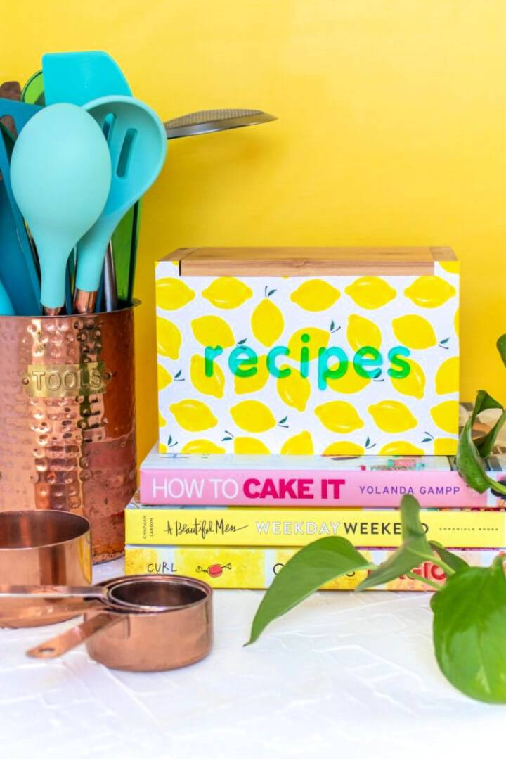 DIY Recipe Box Makeover With Wallpaper