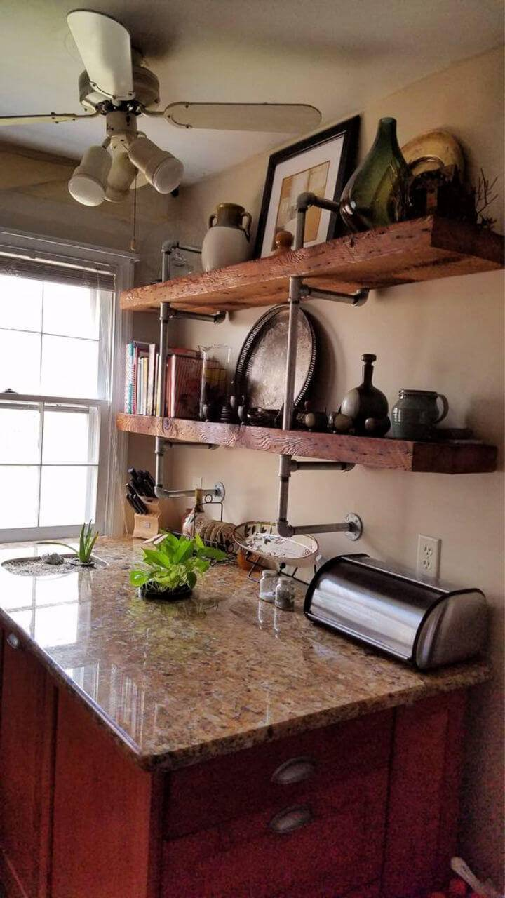 Reclaimed Wood & Galvanized Pipe Shelves