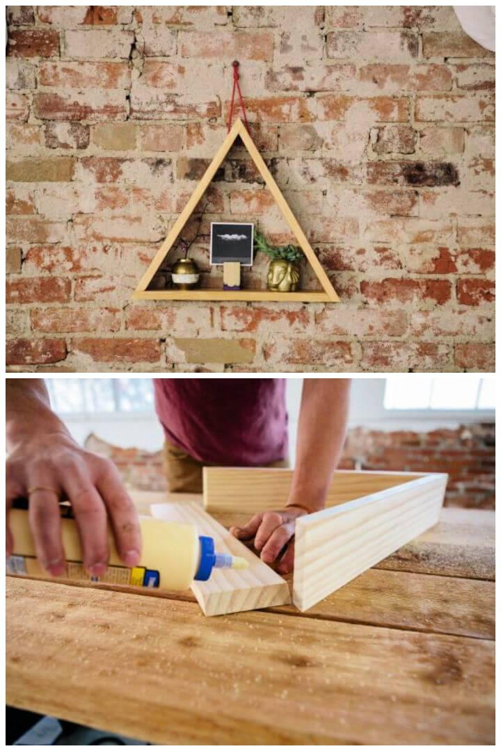 DIY Rustic Hanging Triangle Shelf