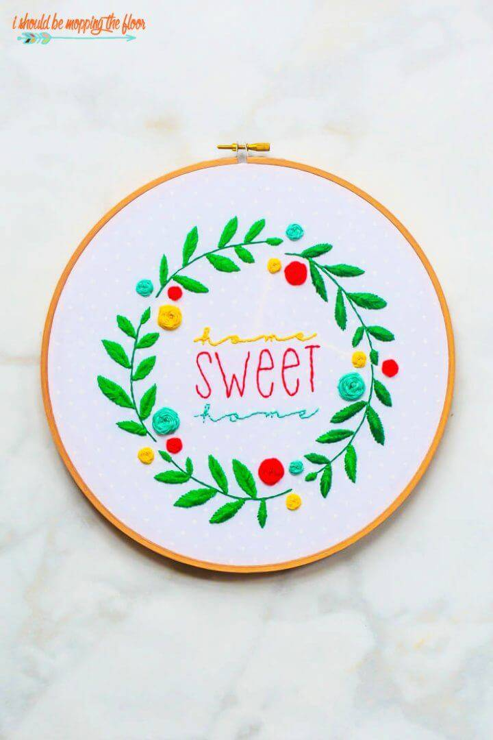 DIY Spring Embroidery Hoop Art